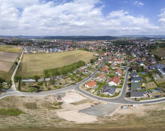 Luftbild-Panorama – Baugebiet Honigbach
